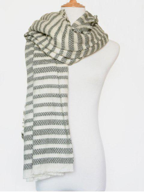 fashion Stripe Fringed Edge Scarf - GREEN  Mobile