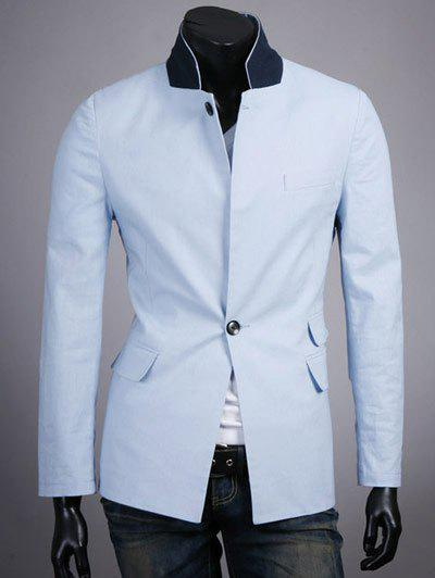 Stand Collar Splicing Design One Button Long Sleeve Blazer 192282602