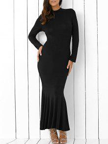 fdd2e15339d8 30% OFF] 2019 Back Cutout Long Sleeve Mermaid Maxi Dress In BLACK ...