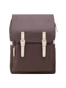 حقيبة الظهر بجلد اصطناعي عصري - قهوة