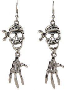 Pendientes Del Cráneo Del Pirata De Halloween - Plata