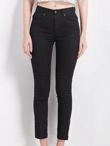 Pantalones De Cintura Alta Que Adelgaza Negro Lápiz - Negro S