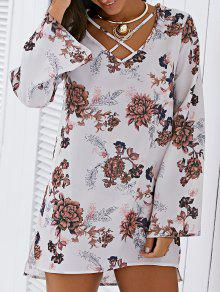 Buy Floral Print V Neck Long Sleeve Strappy Dress - OFF-WHITE ONE SIZE