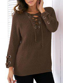 Lace Up V Neck Solid Color Sweater - Blackish Green