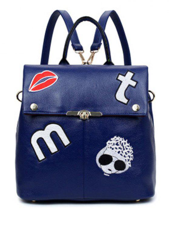 buy Embroidery PU Leather Backpack - BLUE