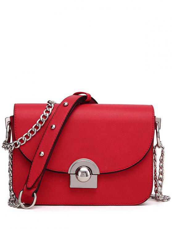 women's Chain Metal Ring Solid Color Crossbody Bag - RED