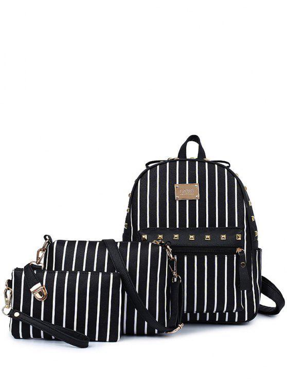 unique Striped Rivet PU Leather Backpack - BLACK