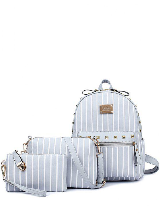 chic Striped Rivet PU Leather Backpack - LIGHT GRAY