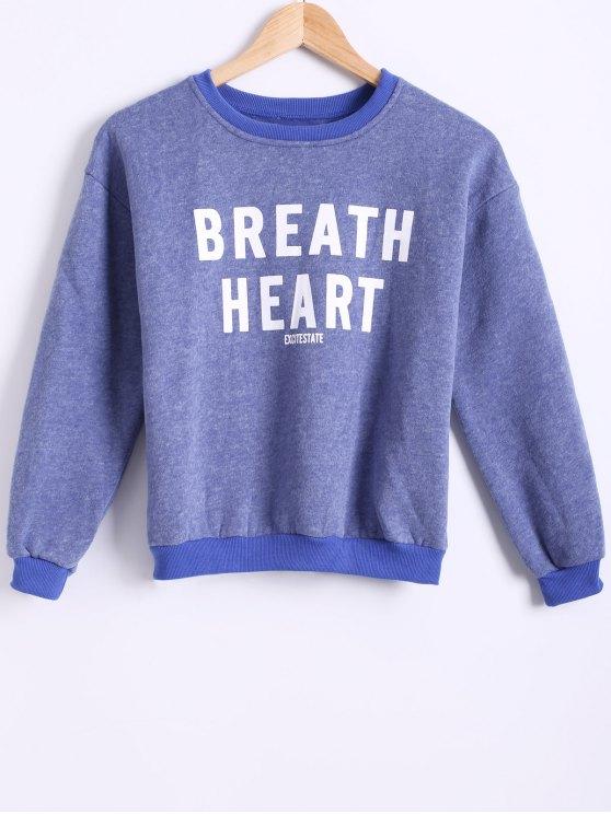 hot Letter Printed Round Neck Fleece Sweatshirt - BLUE ONE SIZE