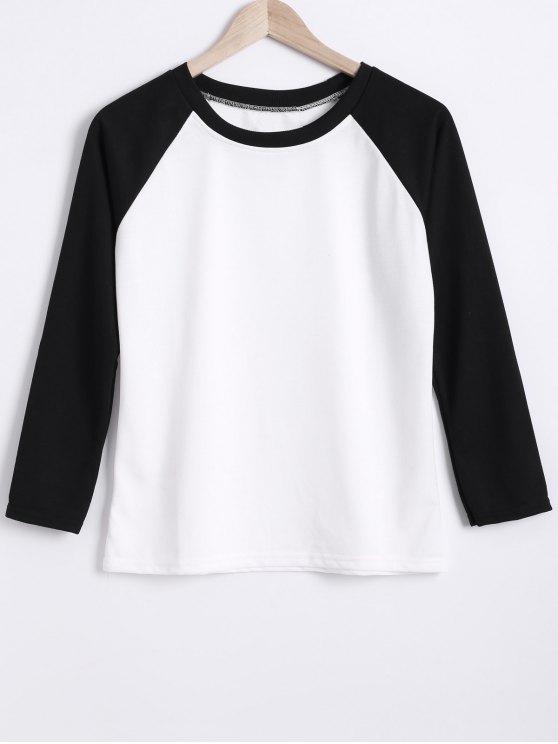 Bloque de color de cuello redondo de la camiseta de manga raglán - Blanco y Negro M