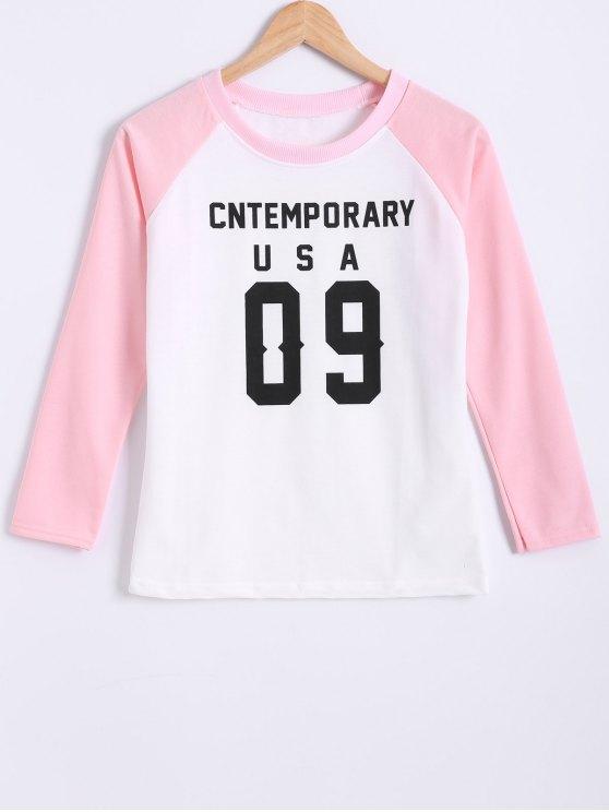 women Color Block Letter Print Raglan Sleeve Sweatshirt - PINK L