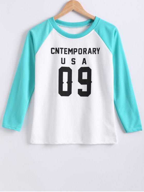 online Color Block Letter Print Raglan Sleeve Sweatshirt - TIFFANY BLUE M