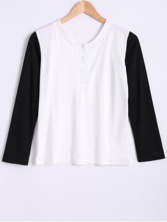 Cuello redondo de manga larga de color del bloque de la camiseta - Blanco y Negro 2XL
