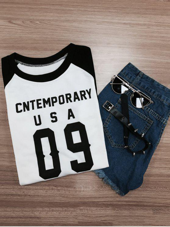 trendy Letter Pattern Raglan Sleeve Color Block Sweatshirt - WHITE AND BLACK M