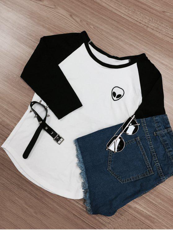 ladies Raglan Sleeve Skull Print Color Block T-Shirt - WHITE AND BLACK M