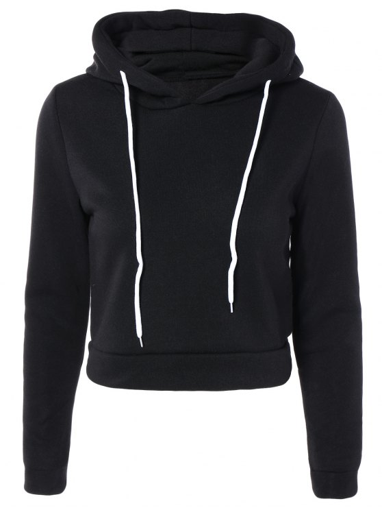 chic Cropped Pure Color Long Sleeve Hoodie - BLACK S