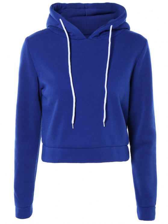 Sweatshirt à capuche court de couleur pure à manches longues - Bleu saphir S
