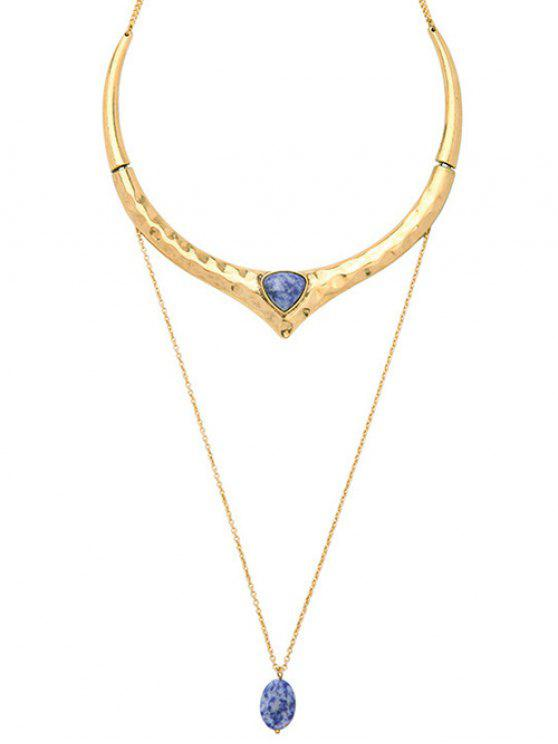 women's Natural Stone Ripple Layered Necklace - GOLDEN