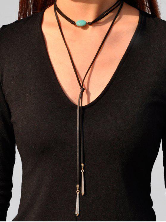 fancy PU Leather Faux Turquoise Bar Choker - BLACK