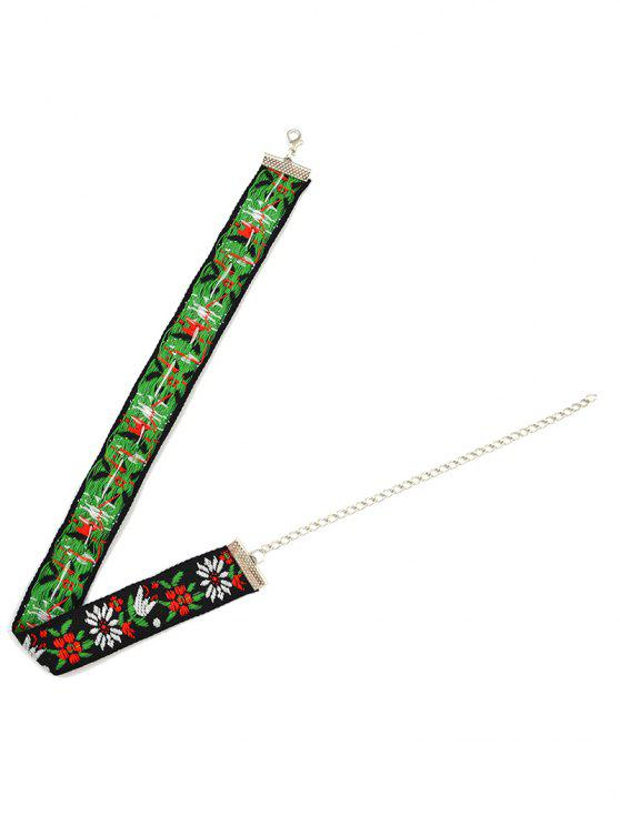best Flowers Embroidery Choker Necklace - GREEN