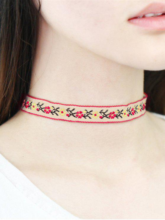 new Floral Embroidery Choker - WHITE