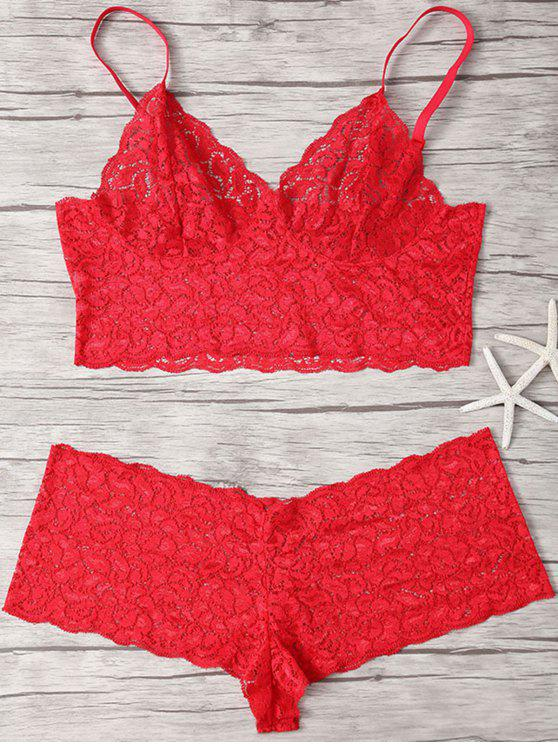 womens Spaghetti Straps Lace Bra Set - RED M