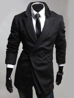 Notched Lapel Collar Double Breast Coat - Black M