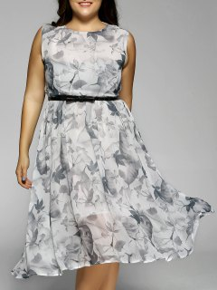 Plus Size Flowers Print Sleeveless Midi Dress - Light Gray 2xl