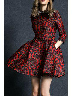 Rhinestone Fit And Flare Dress - Red S