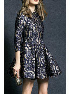 Rhinestone Fit And Flare Dress - Purplish Blue Xl