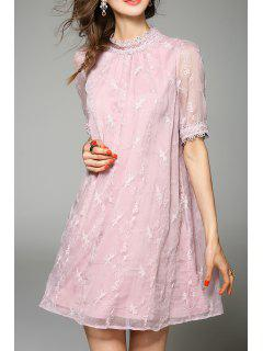 Embroidered Gauzy Trapeze Dress - Pink L