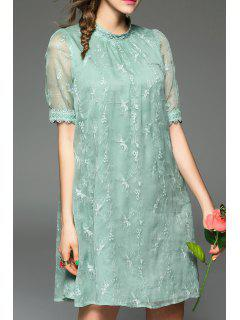 Embroidered Gauzy Trapeze Dress - Light Green S