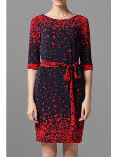 Polka Dot Belted Dress - Deep Blue S