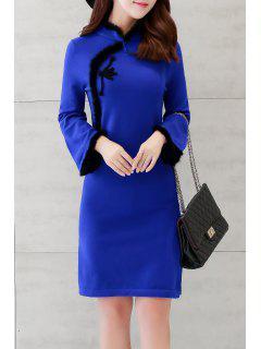 Fuzzy Side Slit Long Sleeve Dress - Blue M