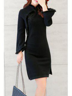 Fuzzy Side Slit Long Sleeve Dress - Black M