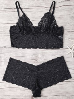 Solid Color Spaghetti Straps Lace Bra Set - Black S
