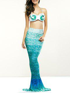 Halter Bikini Mermaid Tail Swimsuit - Marine Green Xl