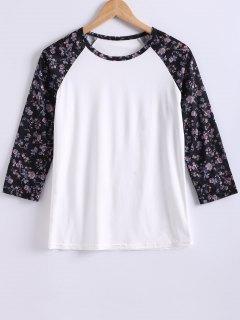 Impreso Cuello Redondo Del Bloque Del Color De La Camiseta - Blanco S