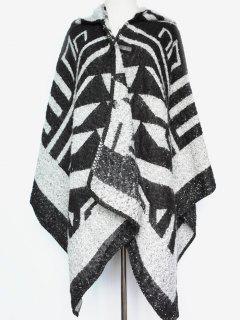 Geometry Hooded Poncho - Black