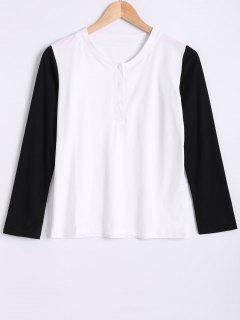 Cuello Redondo De Manga Larga De Color Del Bloque De La Camiseta - Blanco Y Negro M