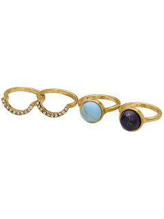 Natural Stone Rhinestone Ring Set - Golden
