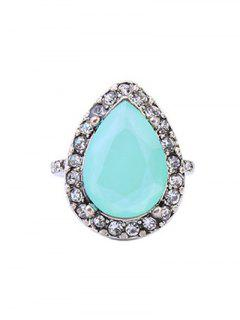 Rhinestoned Fake Gem Water Drop Ring - Silver