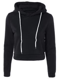 Cropped Pure Color Long Sleeve Hoodie - Black M