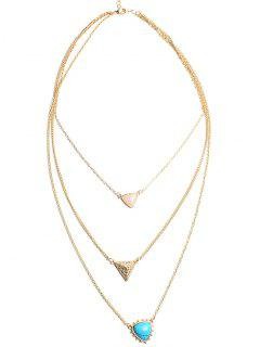 Faux Opal Triangle Pendant Layered Necklace - Blue