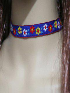 Flowers Embroidery Choker - Blue