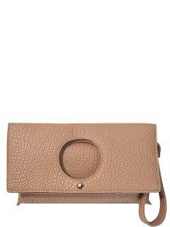 Circle Cut Out Embossing Clutch Bag - Apricot