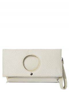 Circle Cut Out Embossing Clutch Bag - White