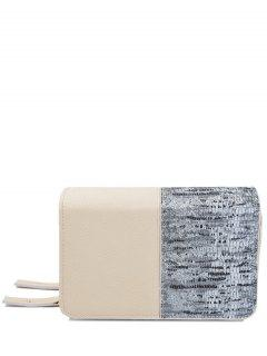 Snake Print Patchwork Wallet - Apricot