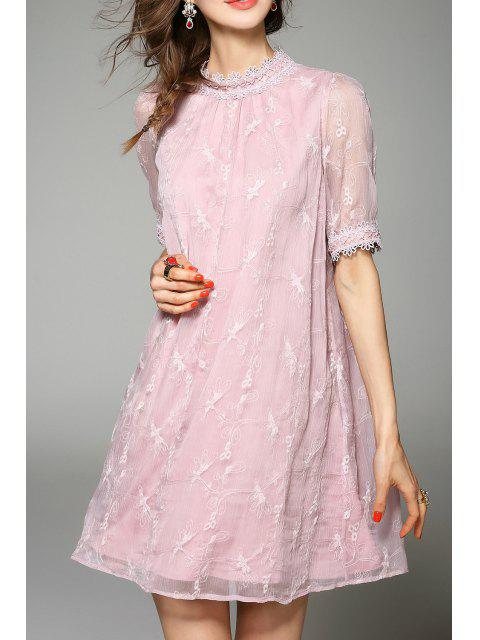 buy Embroidered Gauzy Trapeze Dress - PINK L Mobile
