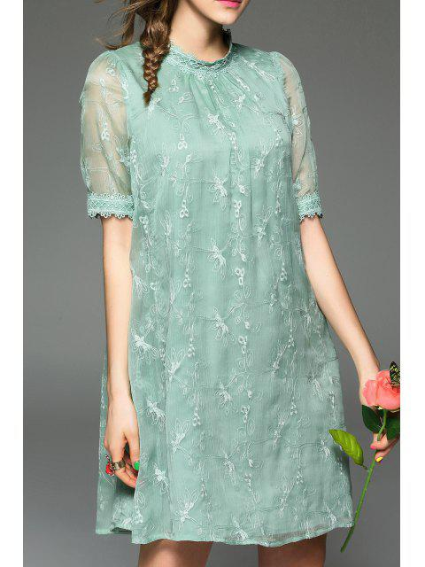 hot Embroidered Gauzy Trapeze Dress - LIGHT GREEN M Mobile
